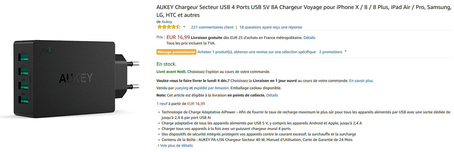 amazon chargeur 4 ports aukey