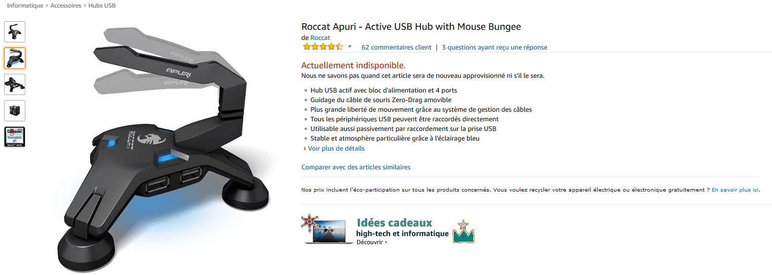 Article de l'apuri usb sur amazon