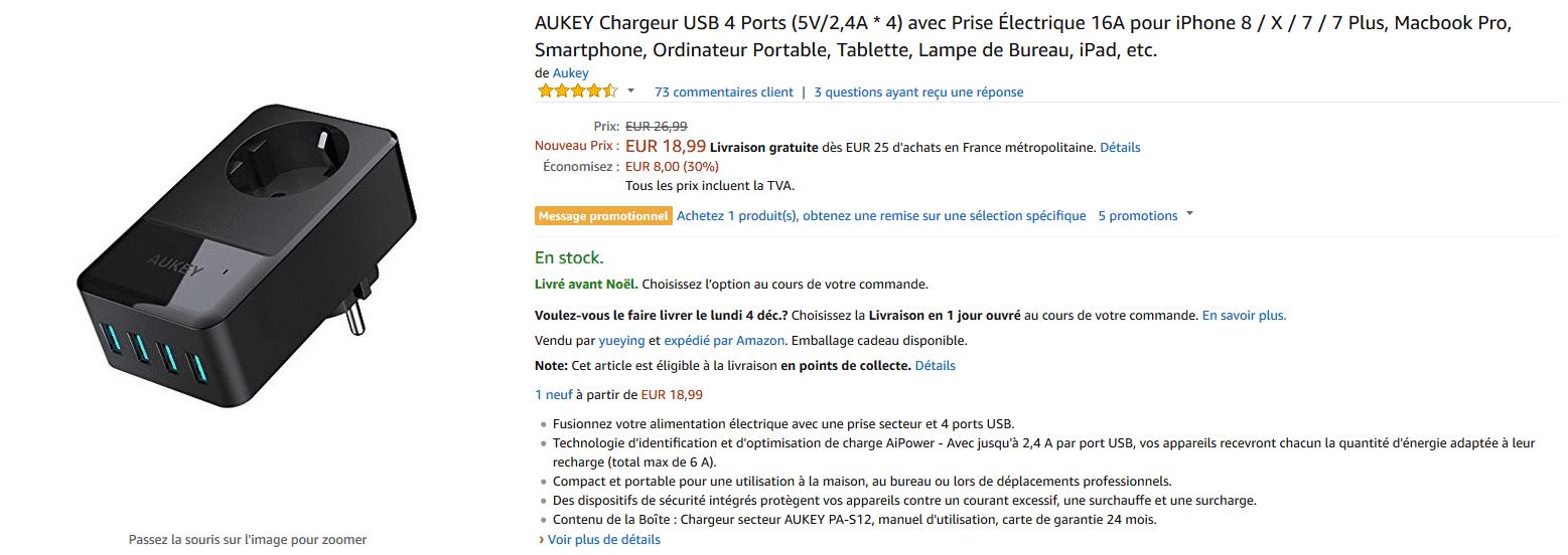 amazon chargeur 4 ports aukey secteur