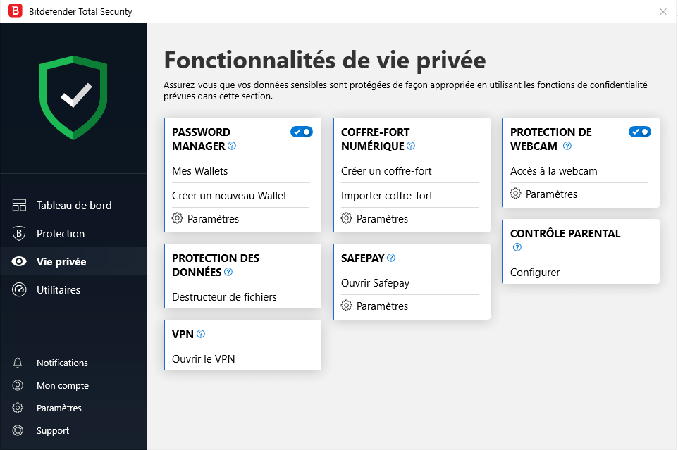 "Section ""vie privée"" de l'antivirus"